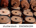 old clay pots on the market in...   Shutterstock . vector #1063606184