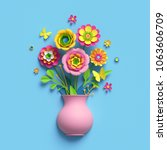 Stock photo  d render craft paper flowers pink vase floral bouquet botanical arrangement bright candy 1063606709