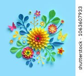 3d Render  Craft Paper Flowers...