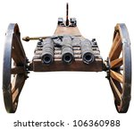 Replica of an old cannon with three tubes - stock photo