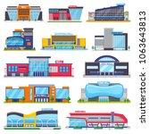 building mall vector storefront ... | Shutterstock .eps vector #1063643813