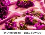 gold key. old vintage key. pink ... | Shutterstock . vector #1063669403