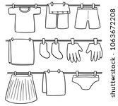 vector set of drying clothes | Shutterstock .eps vector #1063672208
