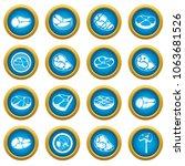 steak icons blue circle set... | Shutterstock . vector #1063681526