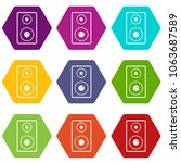 subwoofer icon set many color... | Shutterstock . vector #1063687589