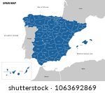 vector illustration of spain map | Shutterstock .eps vector #1063692869
