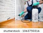 exterminator in work wear... | Shutterstock . vector #1063750316