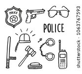 police doodle icons set   Shutterstock .eps vector #1063767593