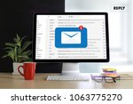 reply the message email on... | Shutterstock . vector #1063775270