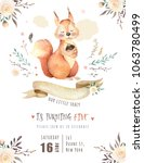 Stock photo cute watercolor bohemian baby squirrel animal poster for nursary alphabet woodland isolated forest 1063780499