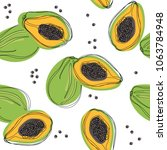 seamless pattern with papaya.... | Shutterstock .eps vector #1063784948