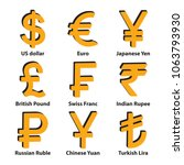 currencies 3d symbol icons set. ... | Shutterstock .eps vector #1063793930