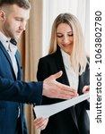 business reports. employee... | Shutterstock . vector #1063802780