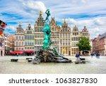 brabo fountain on market square ... | Shutterstock . vector #1063827830