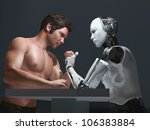human-robot competition - stock photo