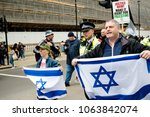 London, United Kingdom, 7st April 2018:- Pro Israel Protesters near Downing Street to counter protest the Pro Palestinian protest due to killings by the Israeli  army during of the Great Return March - stock photo