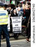 London, United Kingdom, 7st April 2018:- Jewish men protest Israel during a protest in London by pro Palestine activists over recent killings in Gaza - stock photo