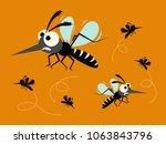 mosquito set isolated on orange ... | Shutterstock .eps vector #1063843796
