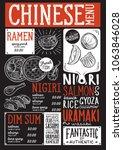 japanese sushi restaurant menu. ... | Shutterstock .eps vector #1063846028
