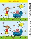 board game for kids  find five... | Shutterstock .eps vector #1063861370