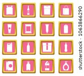 packaging items icons set in... | Shutterstock . vector #1063866290