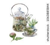 green tea. glass teapot and cup ...   Shutterstock . vector #1063885844