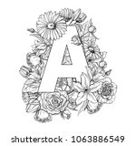vintage flower alphabet. hand...   Shutterstock .eps vector #1063886549
