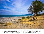 Bench At Maleme Beach On Crete...