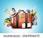retro suitcase of a traveler...   Shutterstock . vector #1063906670