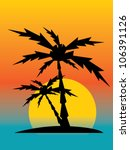 palm trees at sunset | Shutterstock .eps vector #106391126