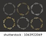 set of golden and silver hand... | Shutterstock .eps vector #1063922069