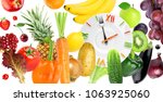 food clock with fruits and... | Shutterstock . vector #1063925060