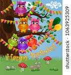 a cute flirtatious owl sits on... | Shutterstock .eps vector #1063925309