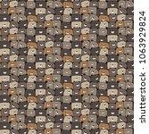 hand drawn cute bears vector... | Shutterstock .eps vector #1063929824