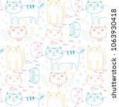 hand drawn cute cats vector... | Shutterstock .eps vector #1063930418