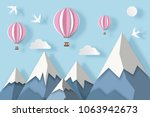 landscape with snowy mountains  ... | Shutterstock .eps vector #1063942673