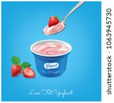 strawberry yogurt a spoon of... | Shutterstock .eps vector #1063945730