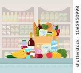 grocery in a paper bag. vector... | Shutterstock .eps vector #1063950998