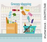 groceries falling from a... | Shutterstock .eps vector #1063951568