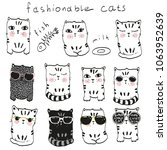 a set of cats fashionable....   Shutterstock .eps vector #1063952639