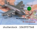 pin marked guatemala on a map | Shutterstock . vector #1063957568