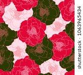 floral rose dog hand drawn... | Shutterstock .eps vector #1063965434