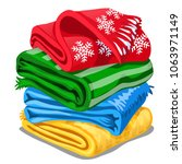 stack of colorful towels... | Shutterstock .eps vector #1063971149