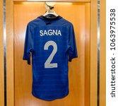 Small photo of PARIS - APRIL 1, 2018: Sagna 2 shirt, Changing room, Stade de France, the national footbal and rugby stadium, Saint-Denis, Paris