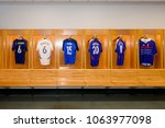 Small photo of PARIS - APRIL 1, 2018: French team legendary players' shirts, Changing room, Stade de France, the national footbal and rugby stadium, Saint-Denis, Paris