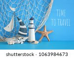nautical concept with white... | Shutterstock . vector #1063984673