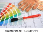 a color guide  a brush and... | Shutterstock . vector #10639894