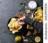 female hands holding home made...   Shutterstock . vector #1063995920