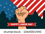 happy labor day american flag... | Shutterstock .eps vector #1064001440