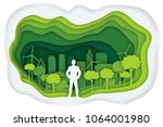 carving design of businessman... | Shutterstock .eps vector #1064001980